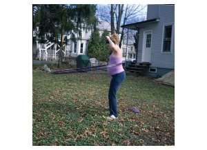 If by usual you mean hula hooping in the yard while pregnant. Then, yeah. The usual.
